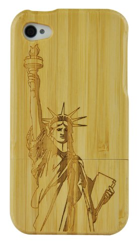 SunSmart Handmade Unikat Holz Hülle Bambus Schutzhülle für iPhone 4 4S (one piece) the Statue of Liberty