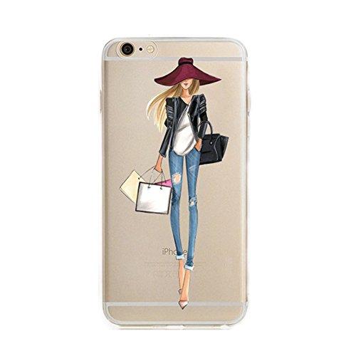 blitzversand Handyhülle Fashion Mode Style kompatibel für iPhone 5 / 5s Shoppen Girl Woman Schutz Hülle Case Bumper transparent M1 (Iphone 5 Case Fashion Girl)