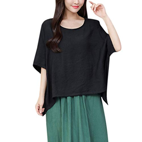 CAOQAO Damen T-Shirt Sweatshirt Ärmel Locker Punkte Taschen Shirt Bluse O Ansatz Kurze Flügelhülse beiläufige Baumwollleinen lose T-Shirt Bluse