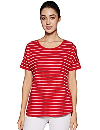 Amazon Brand - Symbol Women's Striped Loose Fit T-Shirt