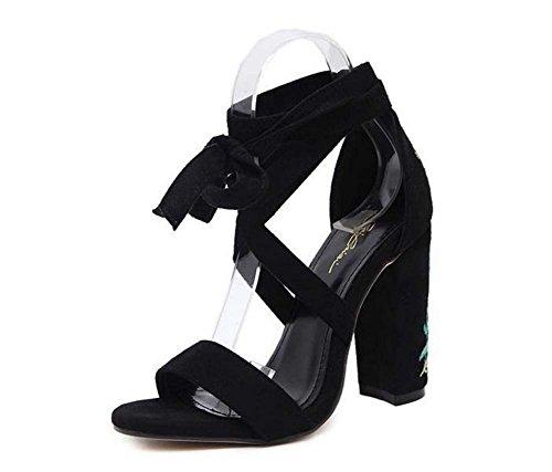 L&Y Donna pompe a punta aperte 2017 Estate Sandali ricamati a spessore ricamato estate Sandali di moda High Heel Blu
