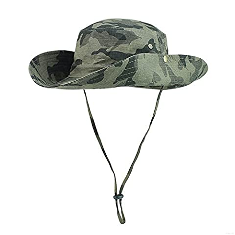 GADIEMENSS Camo Outdoor UPF 50+ Boonie Hats Summer Sun Cap Wide Brim Fishing Hat (Camouflage Army