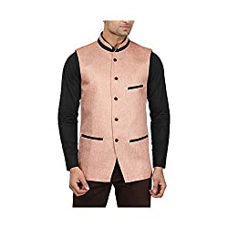 QDesigns Mens Nehru Jacket (WJ_07_Beige & Black_42)