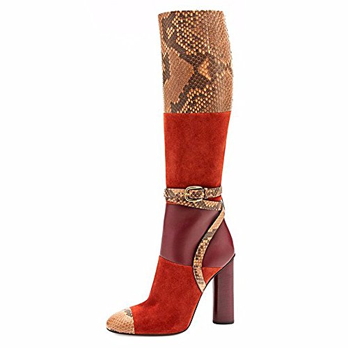 onlymaker-womens-high-thick-heel-python-splice-almond-toe-shoes-sexy-knee-boots-orange-and-red-uk-8
