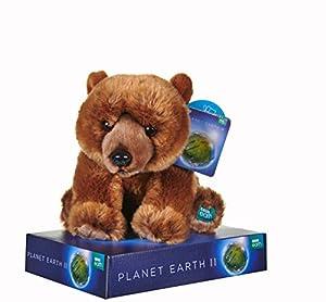 Posh Paws 12452 BBC Planet Earth II Grizzly Bear - Oso de Peluche con Soporte (25 cm), Color marrón
