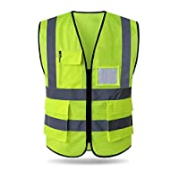 HYCOPROT Hi Vis Viz High Visibility Reflective Safety Vest Waistcoats Jacket Workwear Executive Zip 2 Band Security Mobile Phone Pocket ID Holder ...