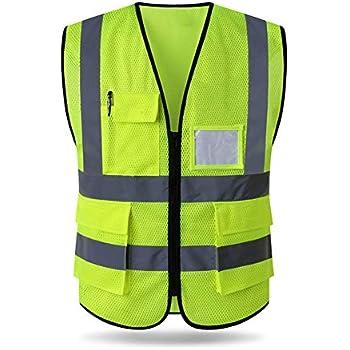 Kyerivs Reflective Safety Vest Neon Yellow Velcro High Visibility Breathable Mesh Vest