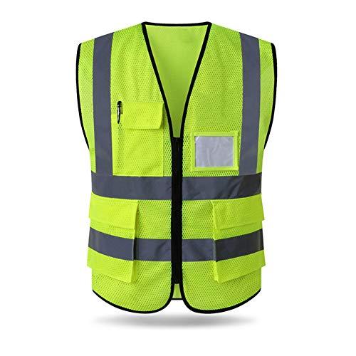 HYCOPROT Sicherheitswesten Warnweste Hohe Sichtbarkeit Reflektierendes Weste Executive Manager Workwear Jacke Zip 2 Band Brace Sicherheit Handytasche Ausweishalter (L, Gelb-Mesh)