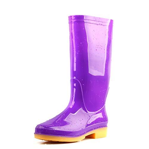 Regenstiefel mit hohem Schlauch Gummistiefel wasserdichte Regenschuhe Wasserschuhe rutschfeste Stiefel (Color : High Tube Purple, Size : 38) (Lila Stiefel Hunter Regen)
