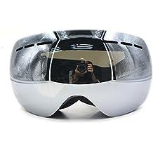 Gafas unisex invierno exterior desmontable doble lente esquí Skate SnowBoard moto de nieve con antiniebla UV protección amplia visión claridad grande esférico, pueden colocarse las gafas (Negro)
