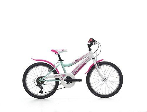 (Cicli Cinzia Kinderfahrrad Mädchen MTB Ariel 20 Zoll 2 Vorradbremsen am Lenker Shimano 6 Gang Schaltung Aquamarin Weiß)
