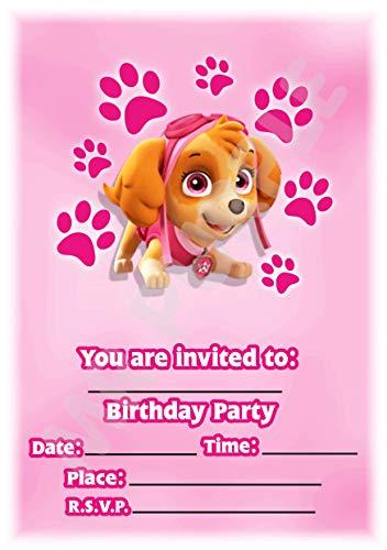 Paw Patrol Geburtstagsparty-Einladungen - Skye Schöne rosa Hochformat Pfotenabdruckmotiv - Partyzubehör (Packung mit 12 Einladungen) WITH Envelopes