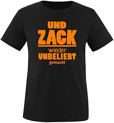 EZYshirt® Und Zack ! Wieder unbeliebt gemacht Herren Rundhals T-Shirt Schwarz/Orange