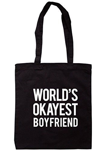 breadandbutterthreads mondo Okayest Boyfriend Borsa 37,5cm x 42cm con manici lunghi Black