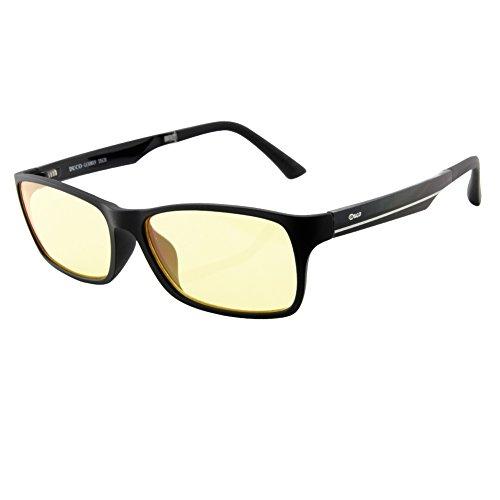 Duco volle Randbrille ergonomisches Design Computer Gaming mit gelb getönten Gläsern Blaulicht-Schutz Bildschirmbrille 223 schwarz