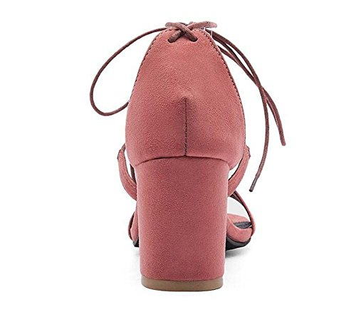 Beauqueen Suede Anke Cravatte Cravatte Pumps Open-Toe Chunky Mid Heel Estate Party Sandali Vintage Vintage Customized Europe Size 34-43 red bean paste