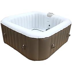 AQUAPARX Whirlpool Ap de 600spa Square * Rectangular 155x 155* Pool 4personen Wellness Cuadrado Jacuzzi SPA Cuadrado 4P Whirlpool Accesorios Indoor Outdoor Cuadrado, calefacción bañera Hinchable