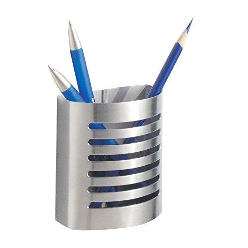 iDesign Stiftehalter, kleiner Schreibtisch Organizer aus Edelstahl, magnetischer Becher für Stifte und andere Utensilien, mattsilberfarben