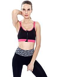 ny De Alta Resistencia De Acero Ajustable De Rim Shockproof Zipper Sports Underwear Vest Corriente Fitness Yoga Bra ( Color : Negro , Tamaño : L )