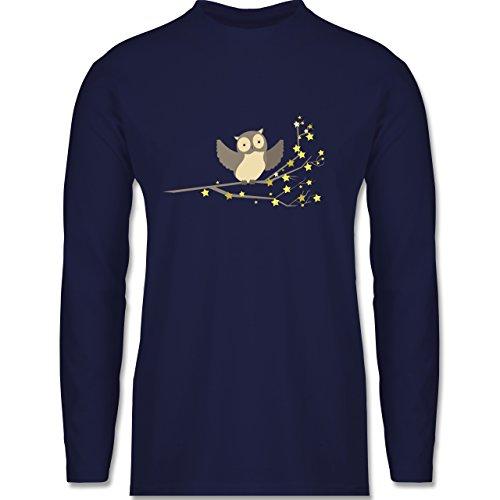 Vögel - kleine Eule - Longsleeve / langärmeliges T-Shirt für Herren Navy Blau