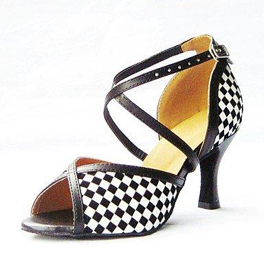 Scarpe da ballo-Personalizzabile-Da donna-Balli latino-americani-Tacco a rocchetto-Vernice-Nero Black