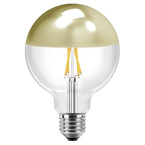 Blulaxa LED Filament Vintage Kopfspiegellampe Globelampe 12,5cm, 8W, 180°, E27, warmweiß, Glas, klar mit goldenem Spiegelkopf EEK: A+