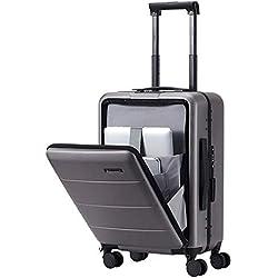 HLSUSAN Valise Voyage Bagage Rigide avec Compartiment Ordinateur Cabine à Main avec 4 roulettes Pivotantes TSA Serrure Imperméable PC Matériel,Gray2