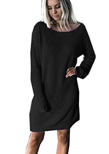 Yidarton Women Long Sleeve Knit Jumper Dress Sexy Casual Loose Baggy Oversized Pullover Sweater (Black, L)