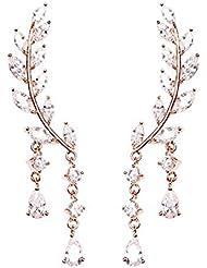 SnowQuene™ S925 sterling silver Leaves Ear Cuffs Earrings Sweep up Ear Vine Wrap Pins