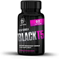 Black T5 Fat Burner High Strength Weight Management Formula-Food Supplement-Weight Loss Diet Pills-60 Vegetarian Capsules-Made In Great Britain-100% Backed by Amazon's Guarantee