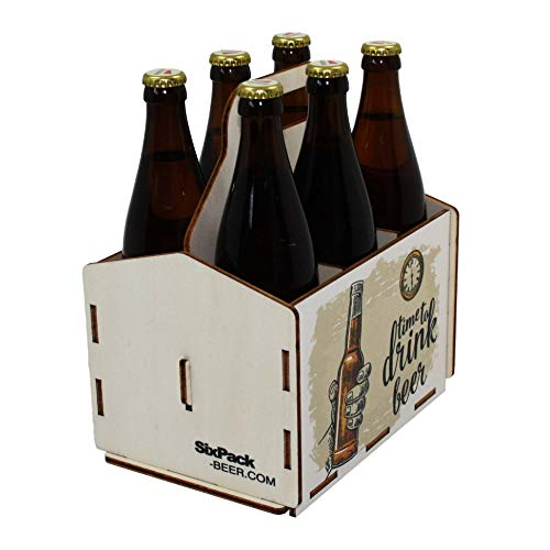 41SXyfN2hoL - Bierträger aus Holz - Sixpack - 6er Träger - Sechserträger - Geschenk Männer, Bier, Grillzubehör, Geburtstagsgeschenk für Männer, Grillparty, Bier-Geschenk