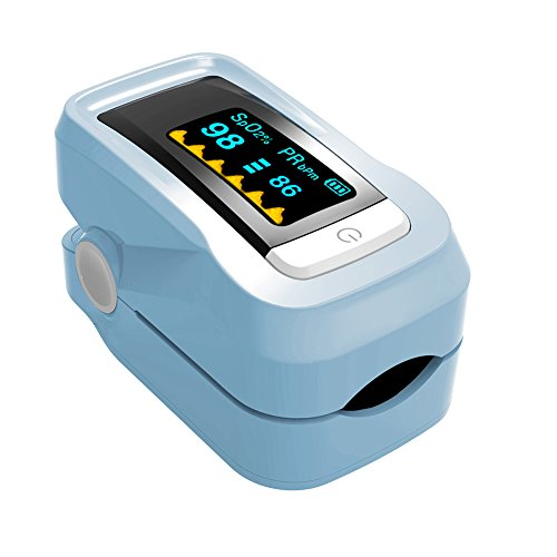 Preisvergleich Produktbild Autbye OLED-Anzeige Finger Pulsoximeter,Pulsoximeter zur Messung der Blutsauerstoffsättigung Pulsmessgerät,Oximeter,Pulsmesser,arterielle Sauerstoff- und Pulsmessung,Sauerstoffsättigung,SPO2 Messung am Finger mit Farbdisplay und Alarm,Software für Langzeitaufnahme (Blau)