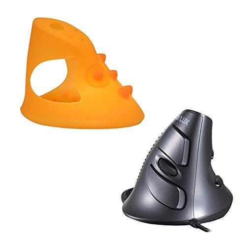 Tping Delux M618GL Verdrahtet Ergonomische Vertikale Optische Maus,Gaming Mouse Arm Handgelenkschutz mit Einstellbare Empfindlichkeit für Windows 7 / 8 / XP / Vista und Mac OS Laptop PC Abnehmbare + Orange Silikon hülle