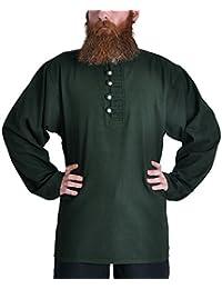 Mittelalter Piratenhemd mit Stehkragen, grün, Größen M - XXXL