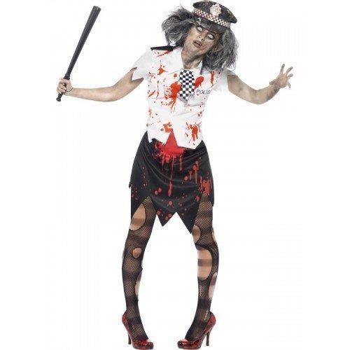 Damen Leichnam Zombie Polizistin Polizist WPC Halloween Kostüm UK 36-46 - Schwarz/weiß, 16-18