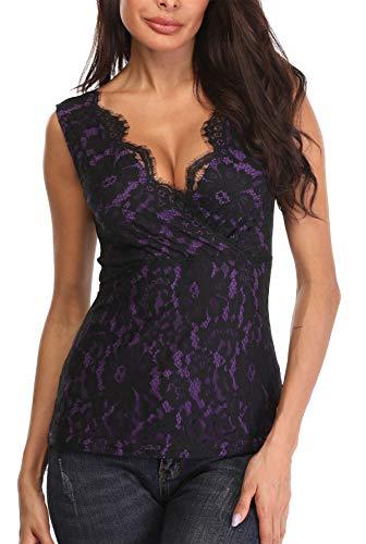 MISS MOLY Mujer Camiseta de Tirantes con Cuello en V Camisas Blusas Encaje Púrpura Small