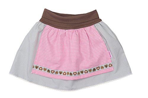 Trachtenrock Baby mit angenähter Schürze grau/rosa 86/92