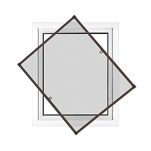 Jarolift profi line zanzariera con telaio per finestra - zanzariera di alta qualità - telaio in alluminio - 60 cm x 150 cm marrone- zanzariera fai da te montabile senza fori