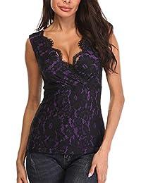 MISS MOLY Mujer Camiseta de Tirantes con Cuello en V Camisas Blusas Encaje