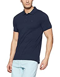 Tommy Hilfiger Mens Polo (8907504791002_A7ATK201_Medium_Black Iris)