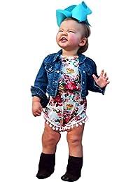 Tonsee Cute Floral Romper Bébé garçons sans manches Tassel Romper One-pièces + bandeau Sunsuit Outfit