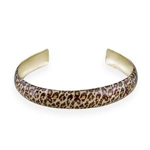 Gold Tone Emaille Leoparden Druck Armreif