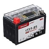 Accurat Motorradbatterie YTX9-BS 9Ah 130A 12V Gel Starterbatterie [LCD Display] Erstausrüsterqualität rüttelfest leistungsstark wartungsfrei