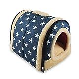 ANPI 2 In 1 Haustier Haus und Sofa, Maschinenwaschbar Anti-Rutsch Faltbare Weich Warm Hund Katze Hündchen Kaninchen Haustier Nest Höhle Bett Haus mit Abnehmbarem Matratze, Klein