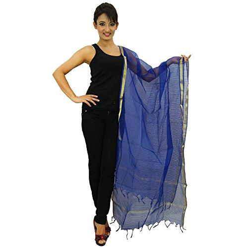 Chunni femme indienne Long Neck Wrap Stole tissus organza Dupatta Foulards de femmes Bleu