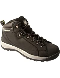 MENS SAFETY TRAINERS SHOES BOOTS WORK STEEL TOE CAP HIKER ANKLE BLACK
