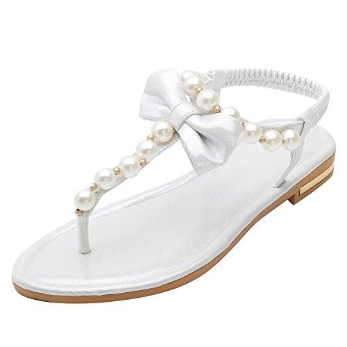 f4c25b899cec6e Misssasa Sandales À Talons Bas Pour Femmes Sweet Silver Flip Flops.  Chaussures ...