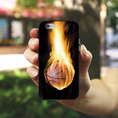 Apple iPhone 5s Housse Étui Protection Coque Basketball Feu Feu Housse en silicone noir / blanc