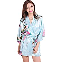 Teamyy Ropa de Dormir de Satén Mujer Suelta 3/4 Manga Estilo Kimono Vestido de Raso Impresión Floral