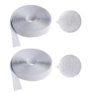 AJETEX Befestigungsband /selbstklebendes Hakenband + Flauschband zur sicheren Befestigung (weiß -1 yard)